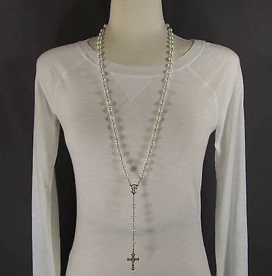 White faux pearl glass bead beaded rosary silver cross 30