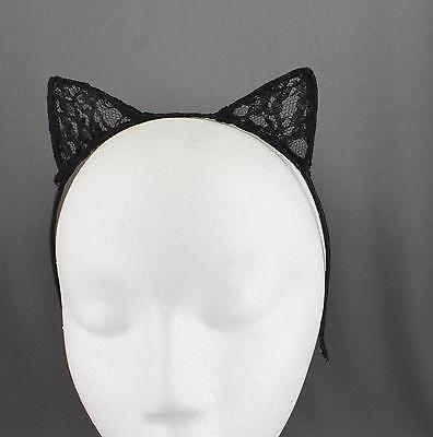 Black lace cat kitten ears headband hair band accessory kawaii cosplay - Black Lace Cat Ears