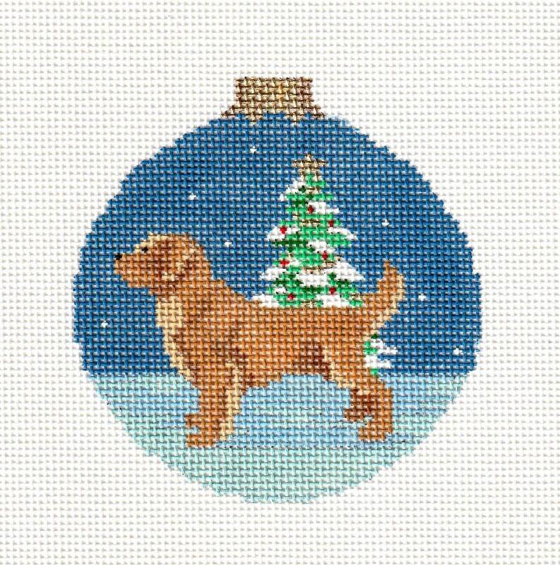 *NEW* Golden Retriever Dog Ornament handpainted Needlepoint Canvas Susan Roberts