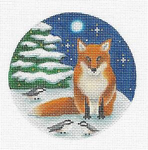 Winter Fox & Chickadees Ornament handpainted Needlepoint Canvas by Rebecca Wood