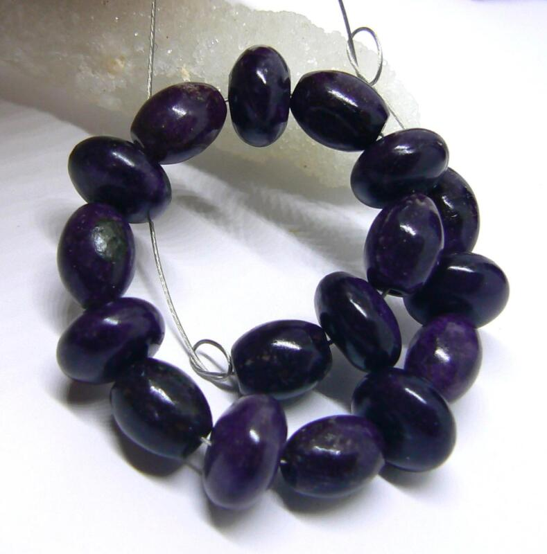 """NATURAL UNTREATED AFRICAN PURPLE SUGILITE RONDELLE OVAL BEADS 17pc SET 5"""" STRAND"""