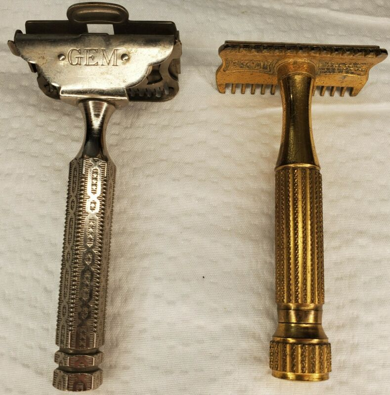 Vintage Safety Blade Razors, Sefal and Gem Micromatic, Lot of 2, Open Easily.