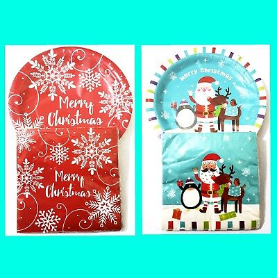 Christmas red Snow flake&Frosty Friends 20 paper plate and napkins set party use