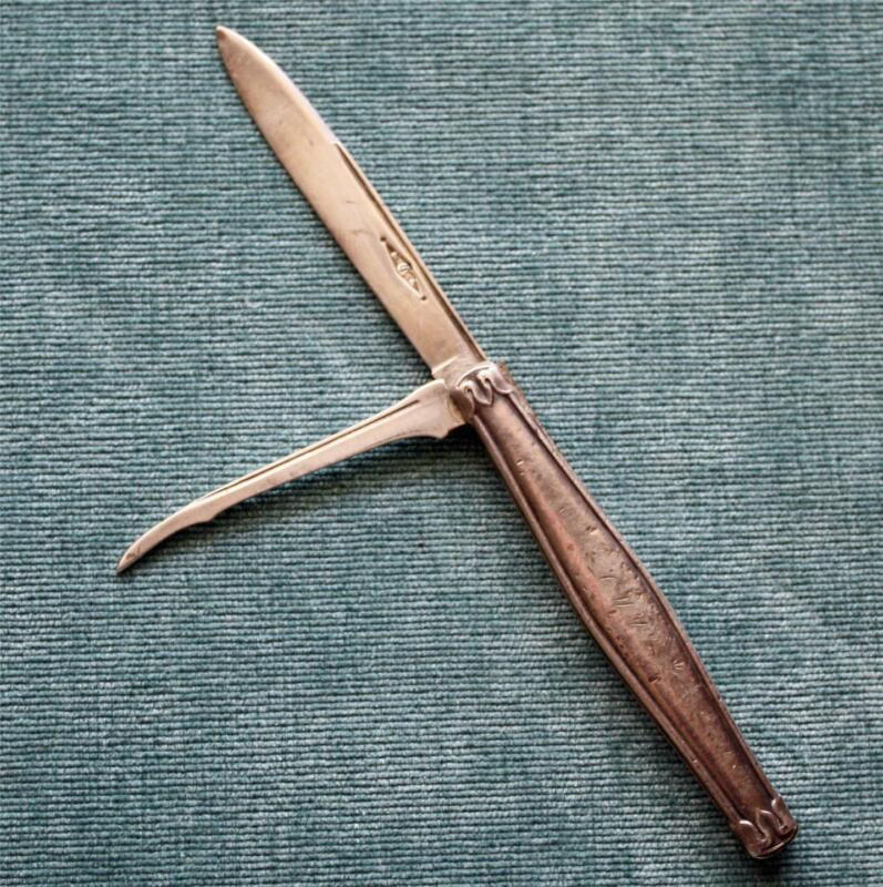 "Antique Coin Silver Blade & Pick Fruit Knife, ""Emma Adams"" Engraved on Blade"