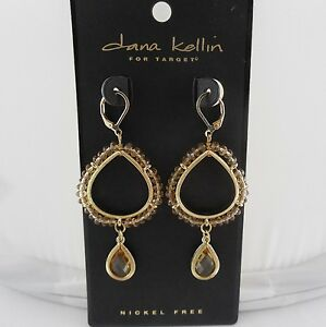 Dana Kellin Champagne Beads & Faceted Crystal Teardrop Dangle Earrings, NWT