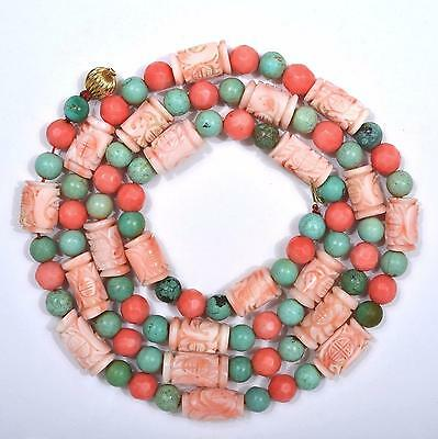 Vintage Chinese Natural Pink Coral Carved Carving & Turquoise Bead Necklace