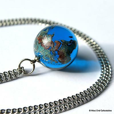 22mm Planet Earth Glass Marble Pendant Necklace Neck Chain - Astronomy Globe