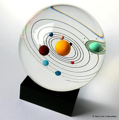 "Orrery Model Solar System Inside Giant 80mm (3.25"") Glass Marble - 9 Planets"