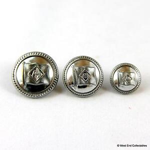 3 x Blue Funnel Shipping Line Badge Buttons - Alfred Holt Nautical Navy Maritime