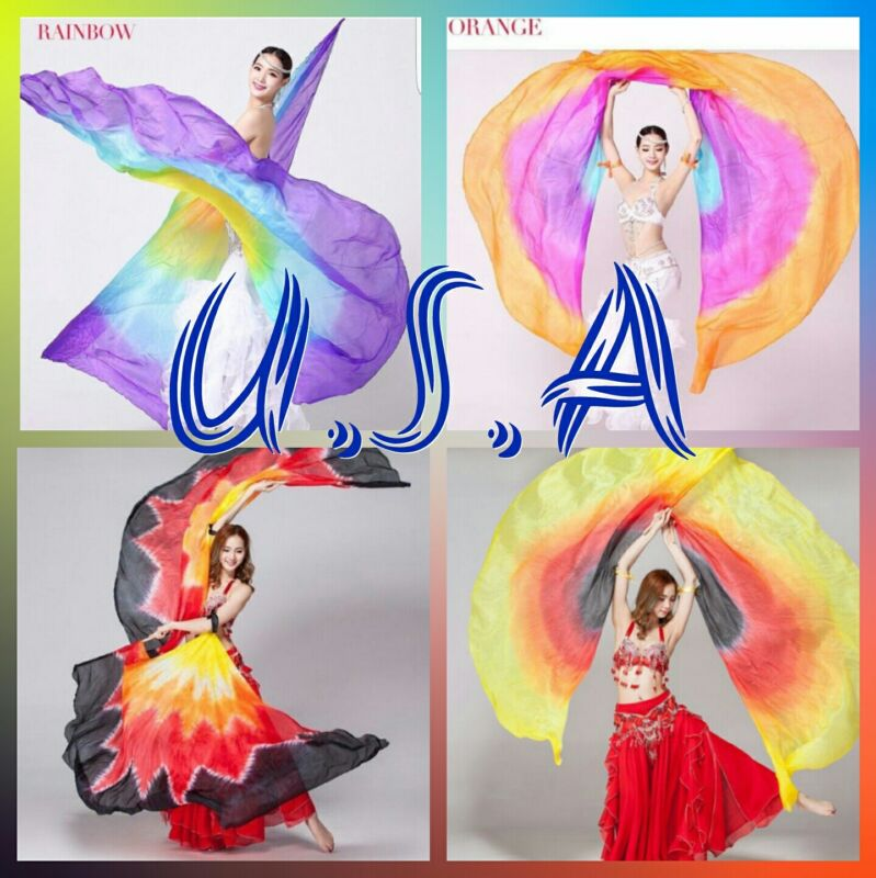 Isis Wings Belly Dance,100% Silk(2 R&L wings+2 sticks)Quick& free Shipping USA.