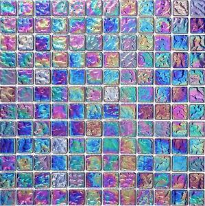 Pearl Iridescent Dark Purple Glass Mosaic Bathroom Wall Tiles Sheets MT0042