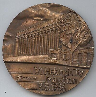 Orig.Medaille / Plazierungsmedaille 4.- 20. Platz  HELSINKI CITY MARATHON 1986 !