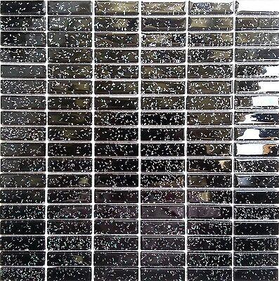 Black Glitter Glass Brick Wall Border Splashbacks Mosaic Tiles Sheet MT0010