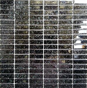 Black Glitter Glass Brick Wall Border Splashbacks Mosaic Tiles Sheet MT0010
