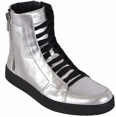 9c97678ee NEW Gucci Men's Metallic Silver Leather High Top Sneakers Shoes US 9 376191