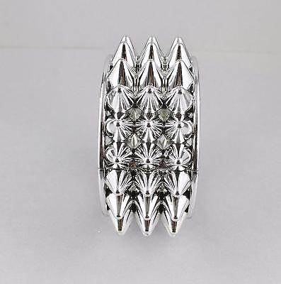 Silver spiked bangle bracelet spikes studs plastic hinged wide bangle cuff