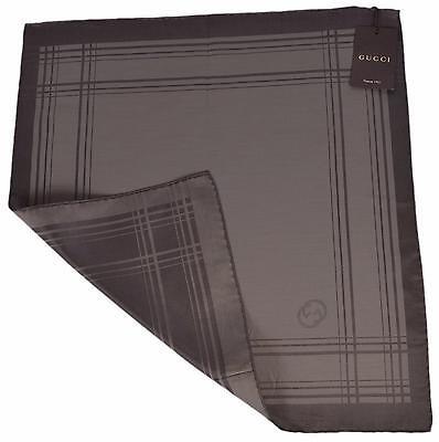 New Gucci Men's 255505 Cotton Silk Square Pocket Handkerchief Logo Scarf