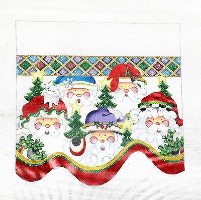 Strictly Christmas 5 Santas Stocking CUFF handpaint HP Needlepoint 18mesh Canvas