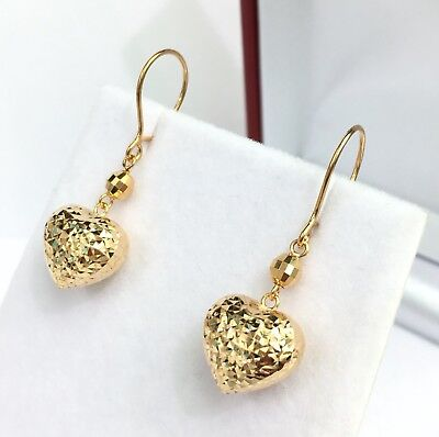 18k Solid Yellow Gold Heart Dangle Leverback Earrings, Diamond Cut 2.15 Grams Diamond Heart Leverback Earrings