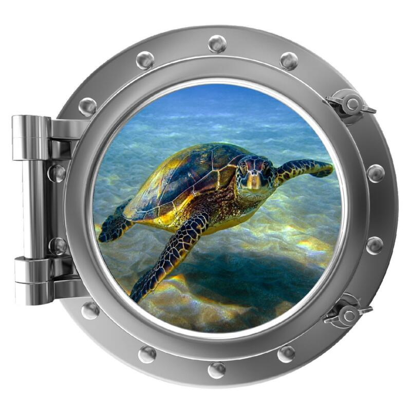 "12"" PortScape Instant Sea Window View Sea Turtle #1 Wall Decal Sticker Graphic"