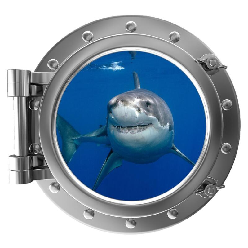 "12"" Port Scape Sea Window View Shark #1 Porthole Wall Decal Art Sticker Graphic"