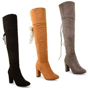 New-Womens-Ladies-Lace-Up-Winter-High-Heel-Platform-Knee-High-Long-Boots-Shoes