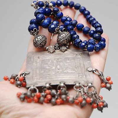 VINTAGE ETHNIC Tribal Silver Pendant Necklace w/ Lapis + Antique Silver Beads