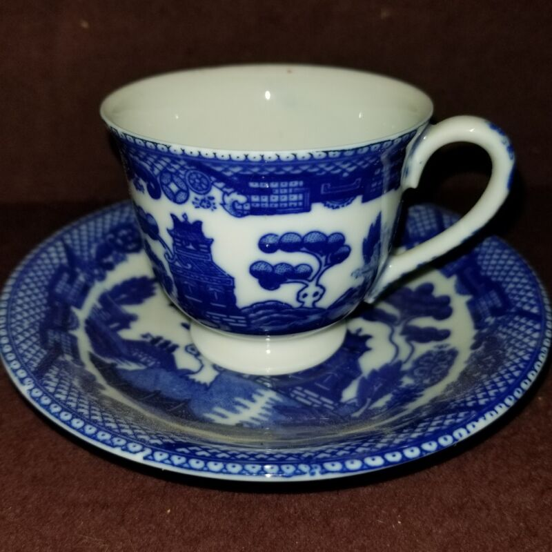 Blue Willow Demitasse Cup and Saucer