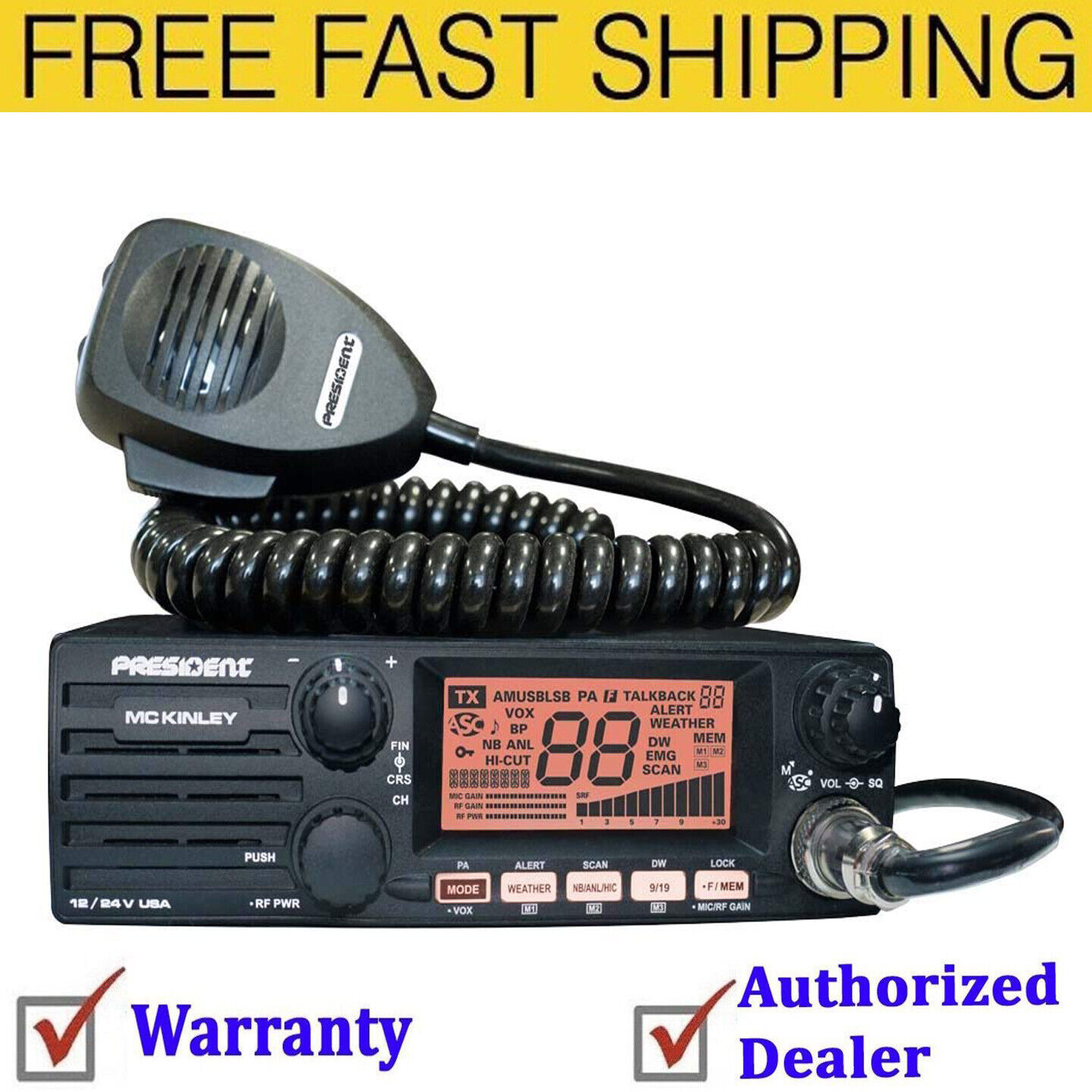 President McKinley USA 40 Channel CB Radio AM/SSB/PA 12/24V Weather Compact New. Buy it now for 179.00