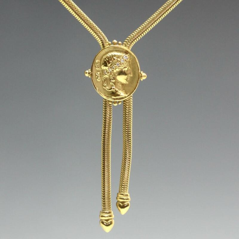 "Estate SeidenGang Classic ATHENA Diamond 18K Yellow Gold 16"" Necklace 36.1g"