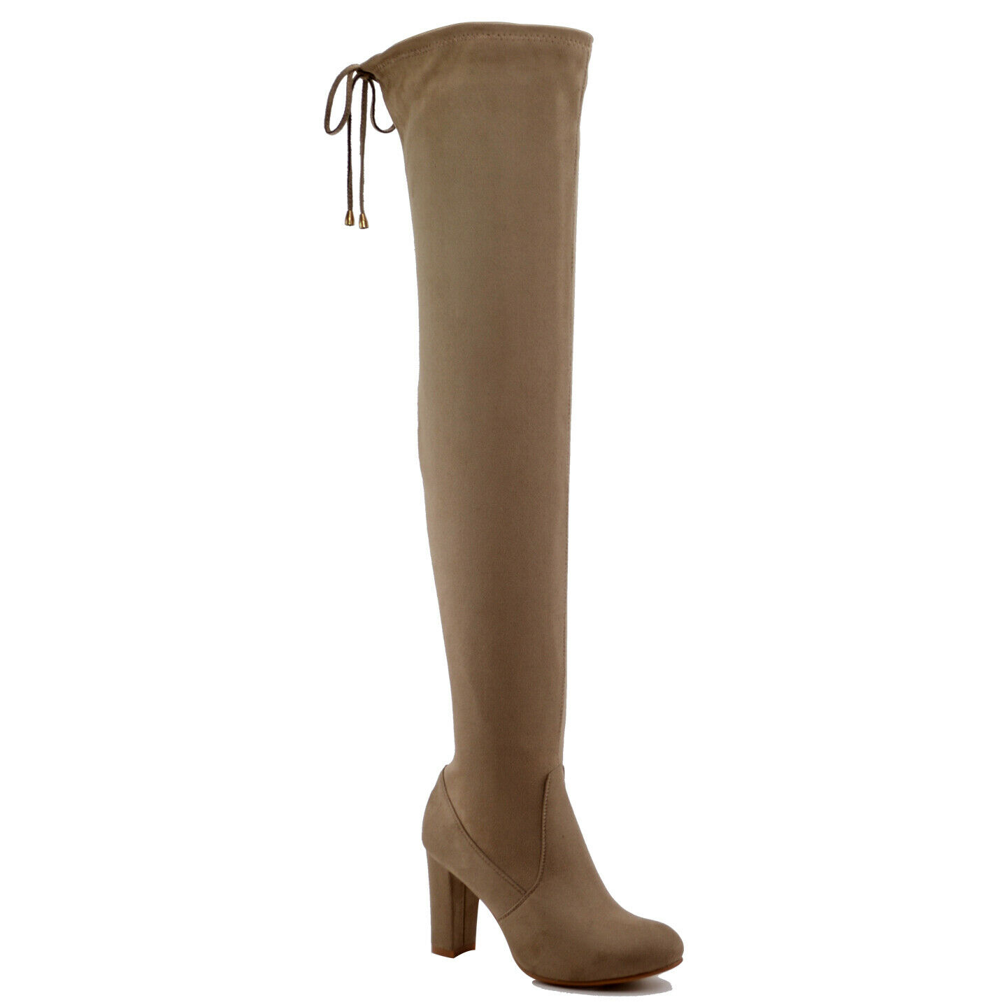 New Women Size 8.5 Taupe Over The Knee Thigh High Stretch Block Heel Boots - $14.89