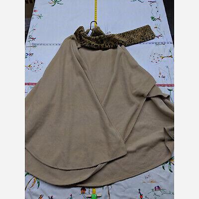 Fleece Cape (Women's One Size East 5th Beige Fleece Cape/Poncho W/ Leopard)