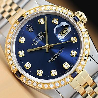 ROLEX MENS BLUE DIAMOND SAPPHIRE DATEJUST TWO TONE 18K YELLOW GOLD & STEEL WATCH