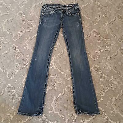 Miss Me Jeans 27 Skinny Embellished Flap Pockets Blue Stretch Denim 30x34 Boot Miss Me Flap Pocket Stretch Jean