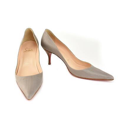"CHRISTIAN LOUBOUTIN ""Clare 70"": Gray, Woven Canvas Heels/Pumps Sz: 8.5M"