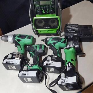 Hitachi 18v 5pcs combo+ 4x4amp batteries all brushless drills