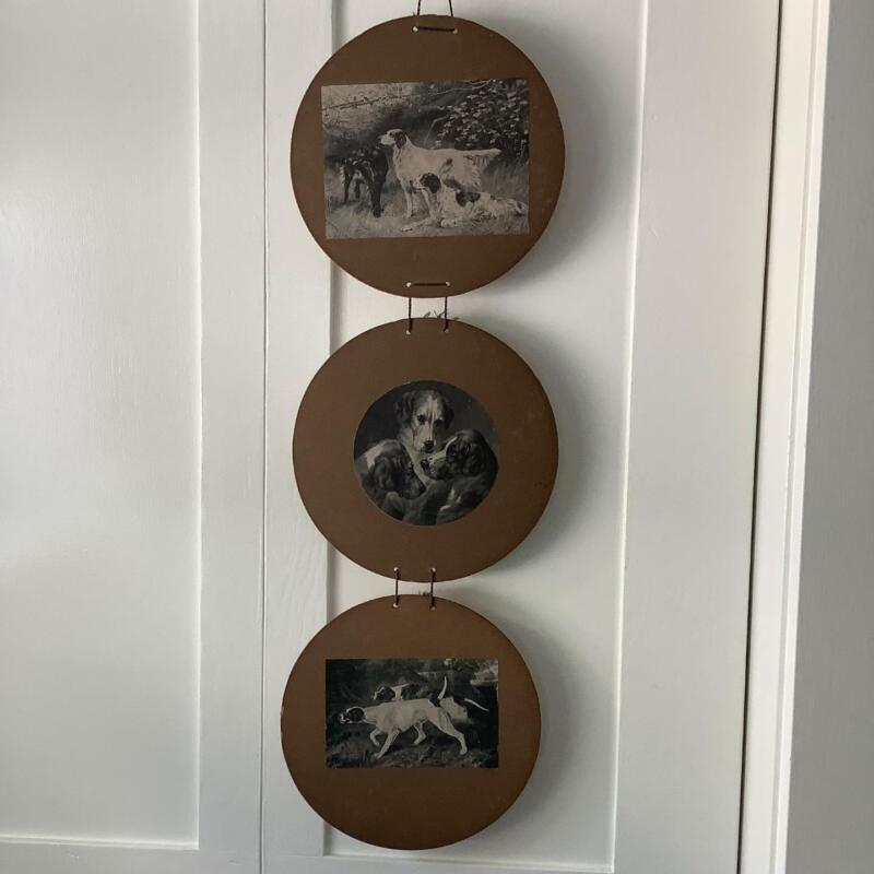 Antique Hunting Pointer Setter Dog Wall Hanging Cardboard Circles B&W Prints