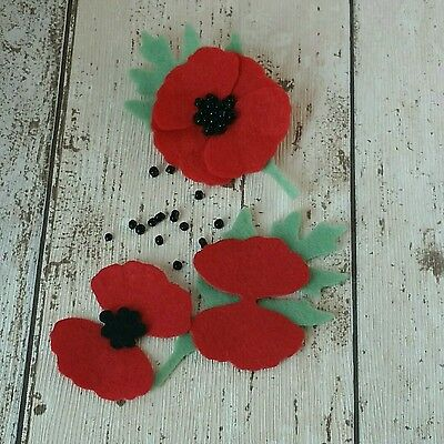 Poppy brooch kit, Remembrance Poppy, make your own gift, diy kit, Poppy brooch