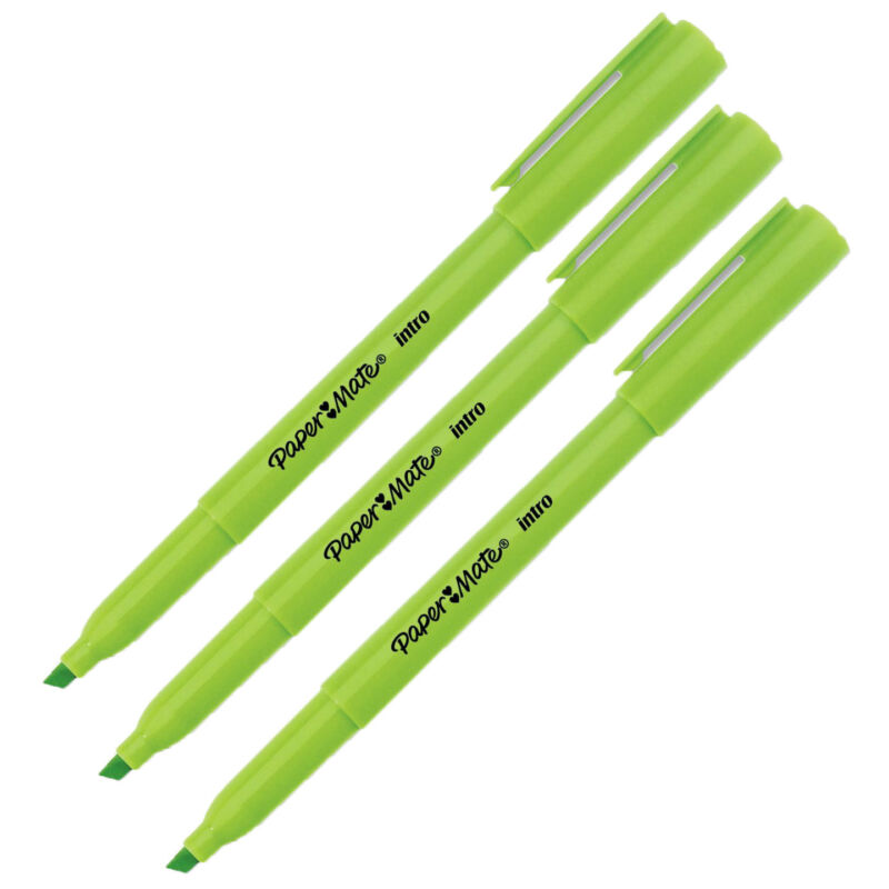 3 Paper Mate Intro Highlighters, Micro Chisel Tip, Fluorescent Green