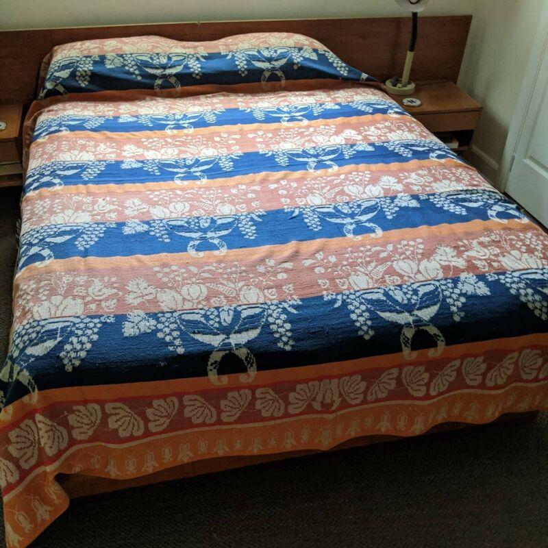 Antique 1800s Jacquard Woven Wool Coverlet Leaf Cornucopia Grapes 86 X 100