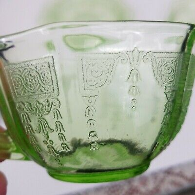 anchor hocking princess green tea cup and saucer / bread and butter plate 2 - Princess Plates And Cups