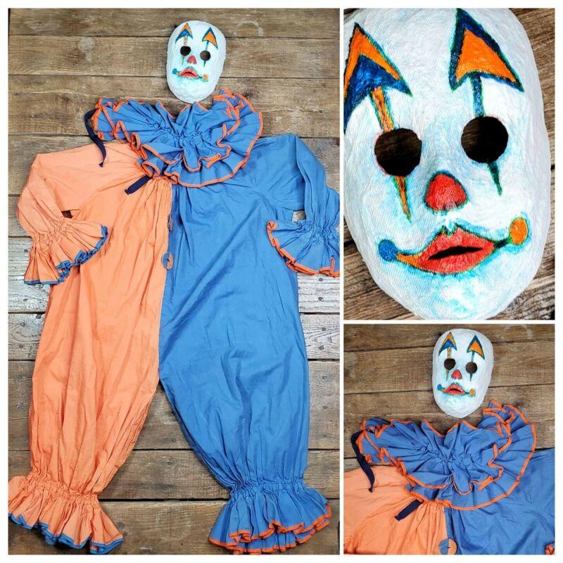 Vtg Halloween Creepy Clown Costume Handmade 40s w/ Modern Home Made Mask Child