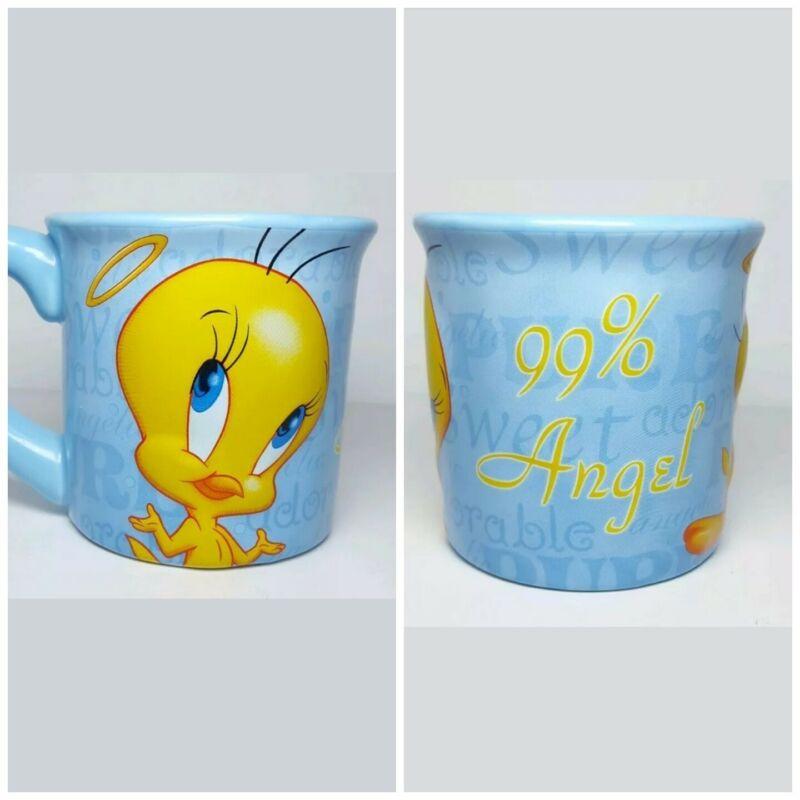 Tweety Bird 99% Angel Coffee Mug Houston Harvest 3D Blue Ceramic Warner Brothers