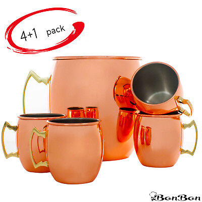 BonBon Moscow Mule Copper Mug with GIANT Cup 5 Pack (Smooth Nickel Lining)