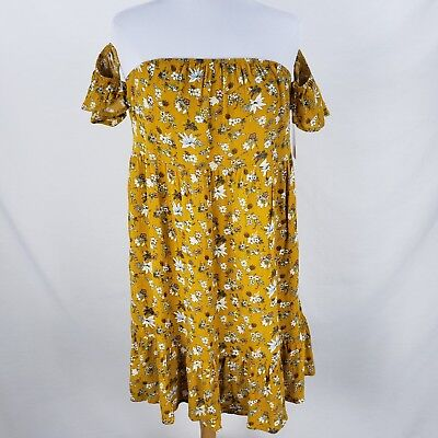 Mossimo Long Blouse Dress Sz Small Medium Large Floral Yellow Gold Off - Gold Off Shoulder