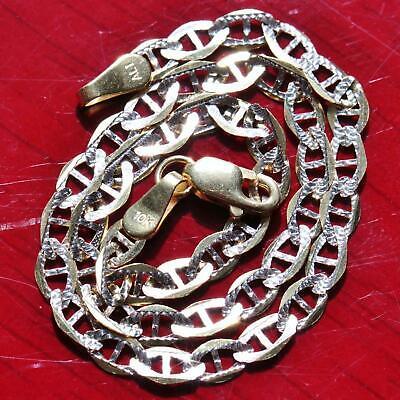"10k multi tone gold bracelet 8.0"" diamond cut gucci link chain vintage 1.6gr"