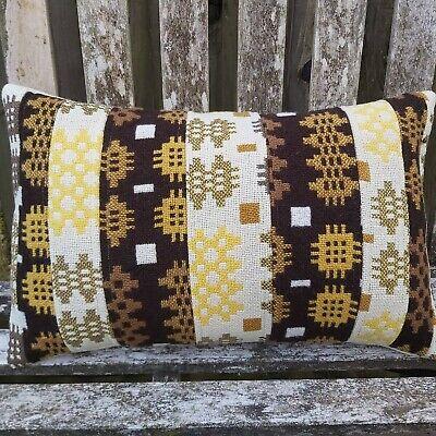 Welsh wool Caernarfon tapestry blanket patchwork cushion upcycled vintage