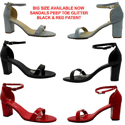 LADIES WOMENS BLOCK HEEL ANKLE STRIPY SANDAL PEEP TOE GLITTER PATENT PARTY SHOES Heel Glitter Sandal