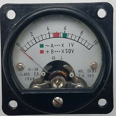 Vintage 1969 Hioki Electric H-38 Class 25 0-10 Volt Panel Meter No. D 131