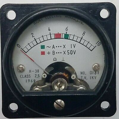 Vintage 1969 Hioki Electric H-38 Class 25 0-10 Volt Panel Meter No. D 131